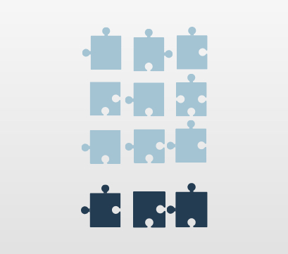 good data quantity visualized with puzzle pieces